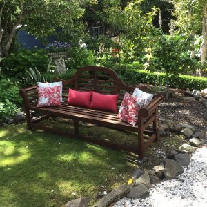 Beaufort House Akaroa 2020 House & Garden Tour Bench in the garden